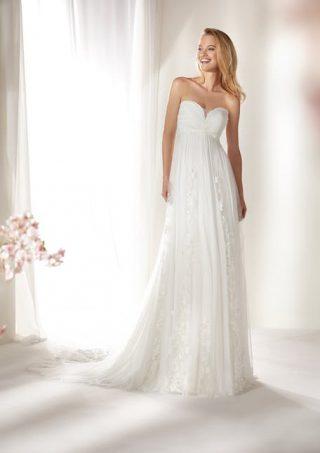 Skromna suknia ślubna bez ramiączek Nicole