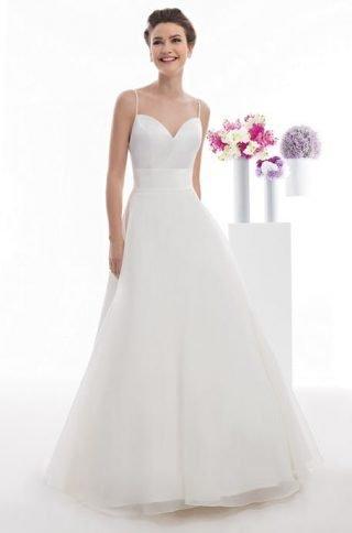 Skromna suknia ślubna z cienkimi ramiączkami OraSposa
