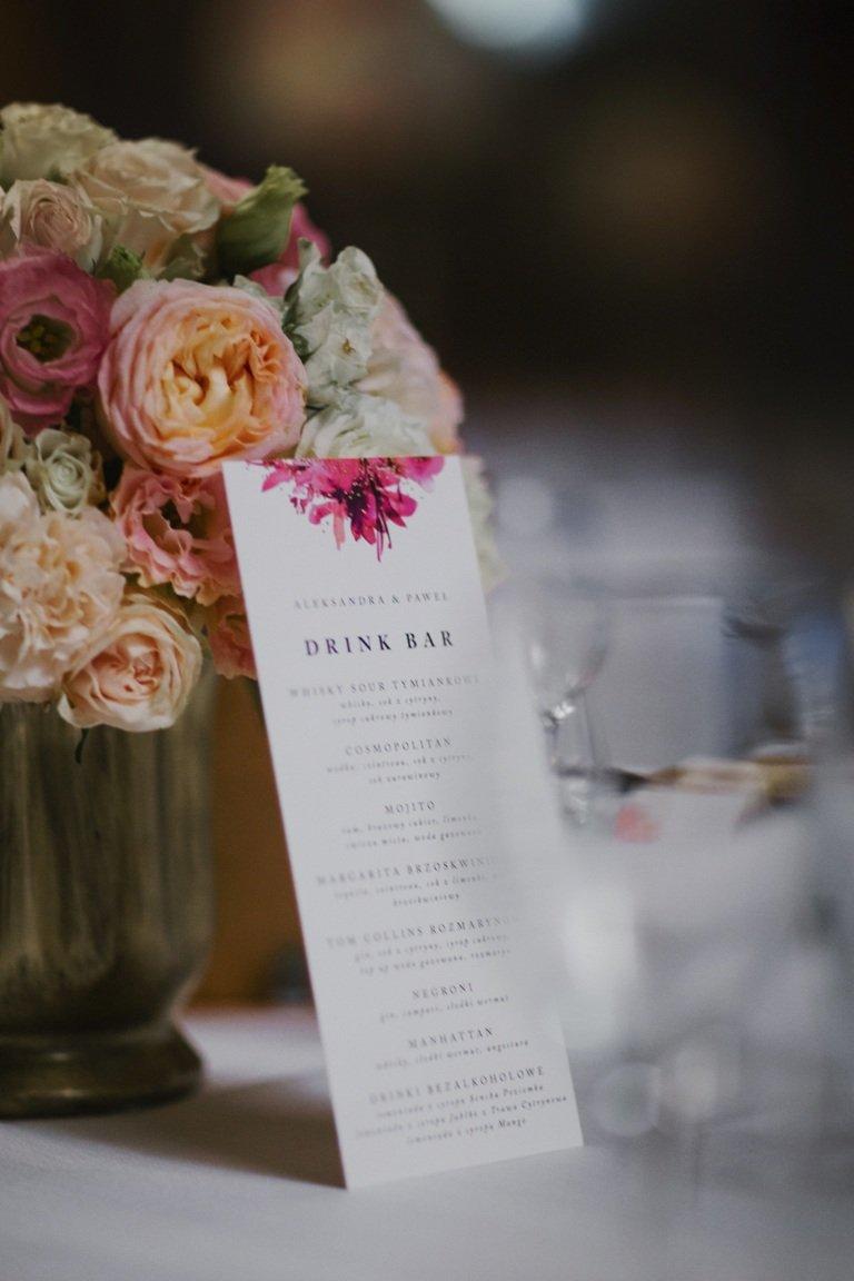 Ślub blogerki ALEXDARG - menu weselne