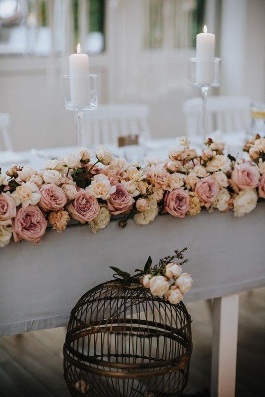 dekoracje stołu pary młodej w stylu boho glamour