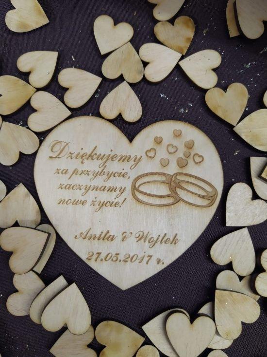 drewienka serca dla gości weselnych