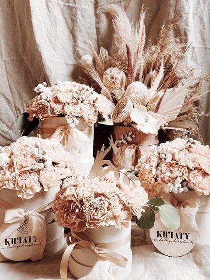 flower box podziękowania dla gości weselnych