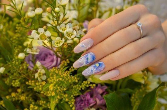 stylizacje paznokci dla Panny Młodej - lawenda