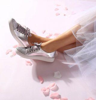 Srebrne buty ślubne YES I DO