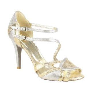 Srebrno-złote buty ślubne