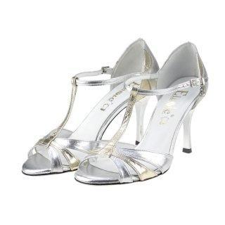 Srebrne buty ślubne na stabilnym obcasie