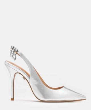 Srebrne buty ślubne z lustrzanym efektem