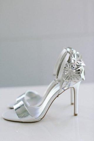 Srebrne buty ślubne - sandały