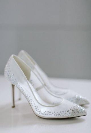 Srebrne buty ślubne z kryształkami Swarovskiego