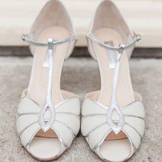 Srebrne buty ślubne taneczne