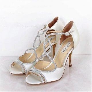 Srebrne buty ślubne z brokatem
