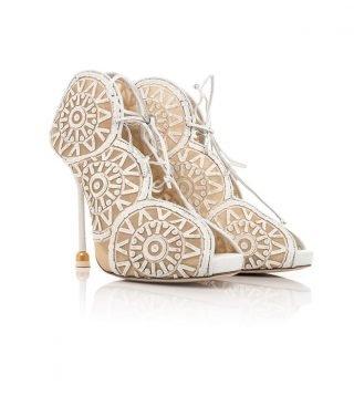 Srebrne buty ślubne ażurowe