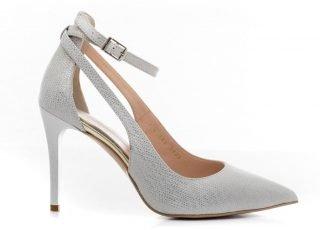 Srebrne buty ślubne z paskiem