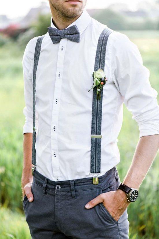 Strój Pana Młodego na poprawiny - koszula z szelkami