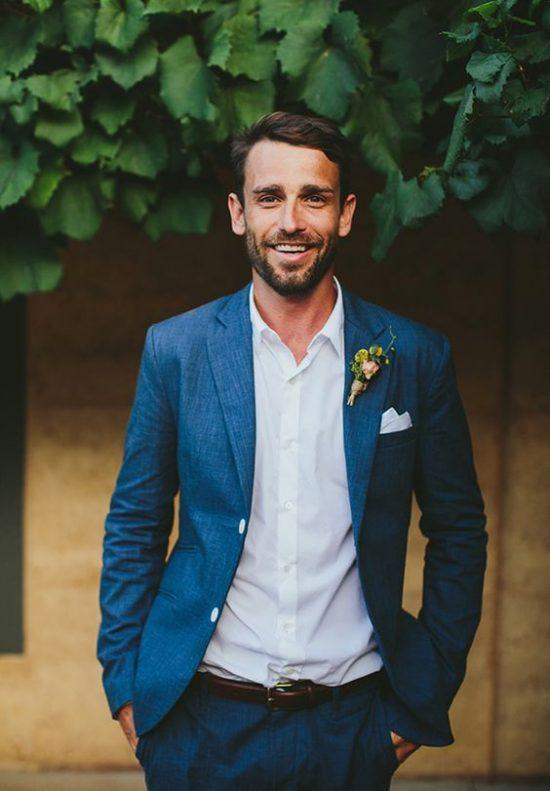 Strój Pana Młodego na poprawiny - garnitur bez krawata