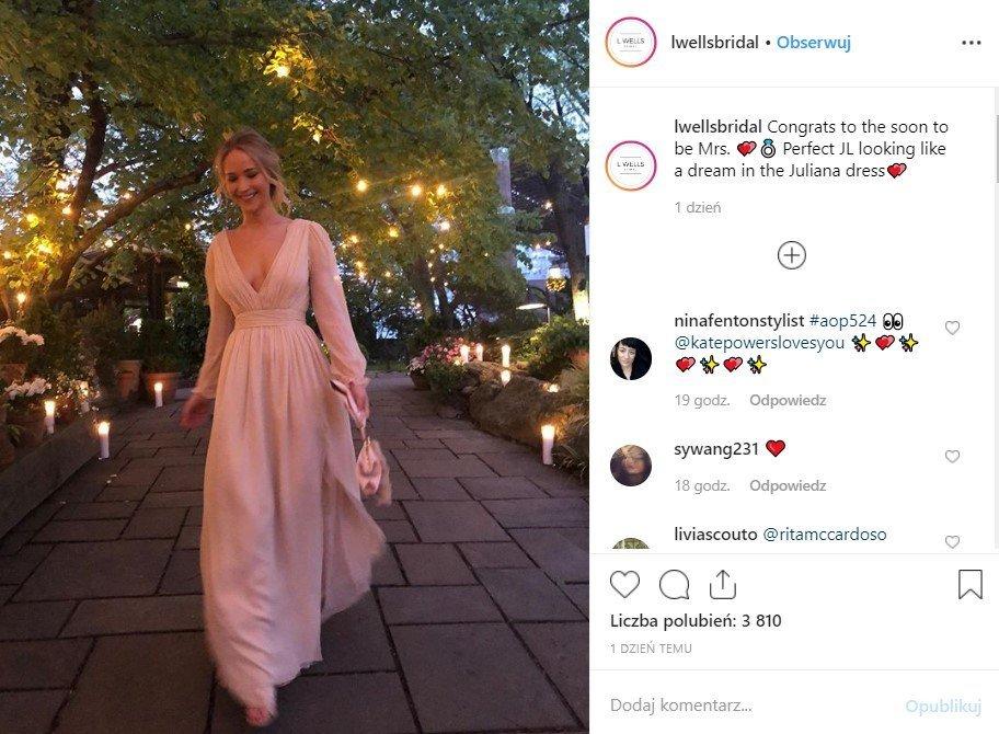 Sukienka zaręczynowa Jennifer Lawrence
