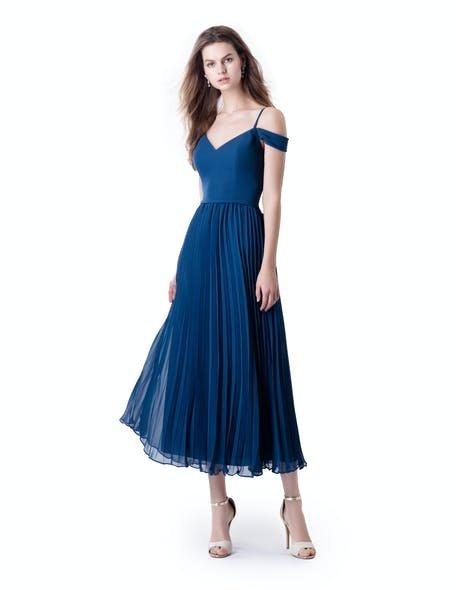 niebieska sukienka dla druhny