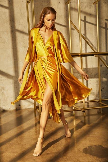 żółta sukienka dla świadkowej