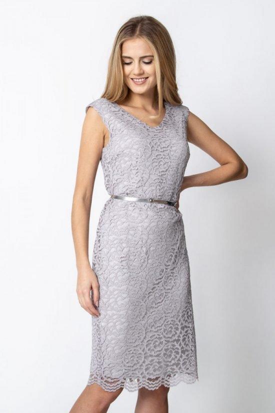 Szara sukienka z koronki
