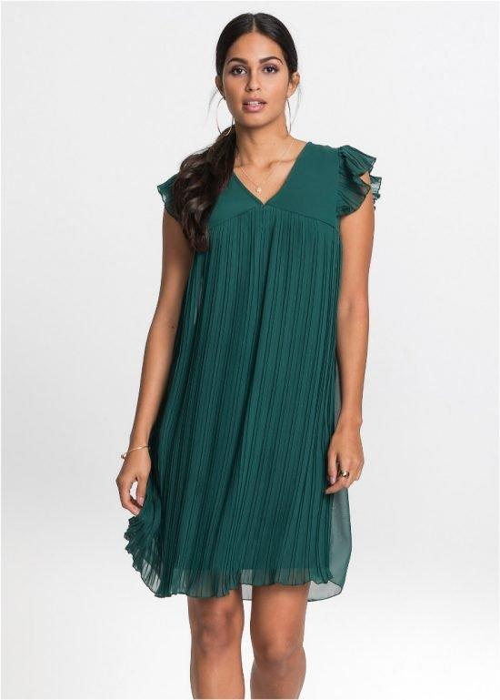 Zielona sukienka z plisowaniem