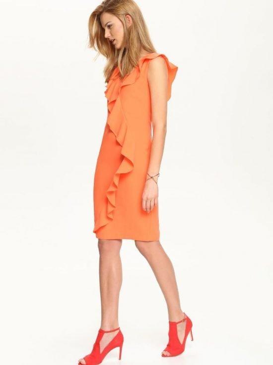 Koralowa sukienka z falbanami