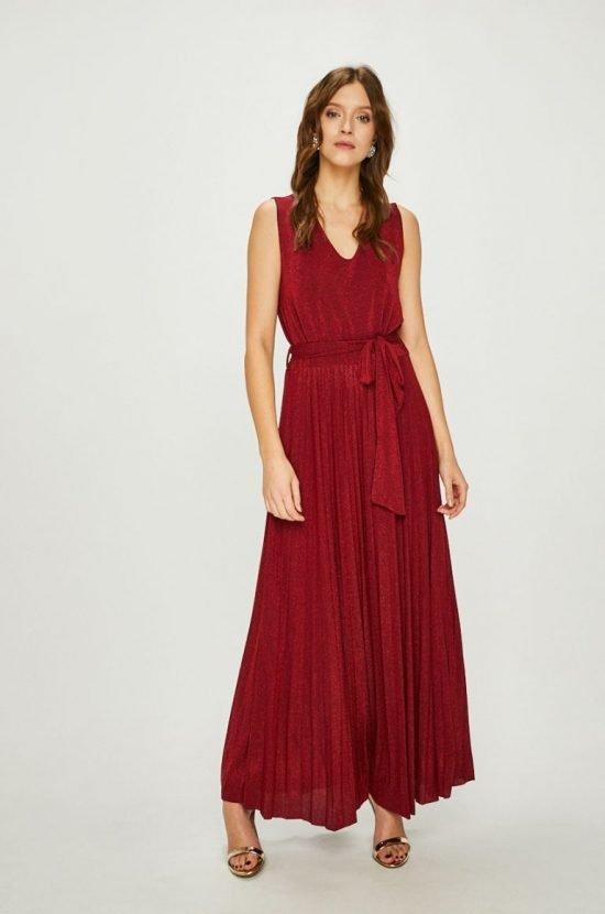 Bordowa sukienka na wesele maxi