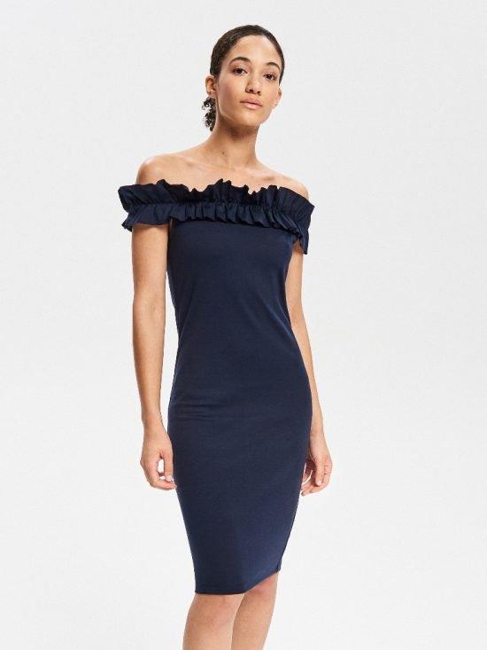 Granatowa sukienka z falbanką przy dekolcie
