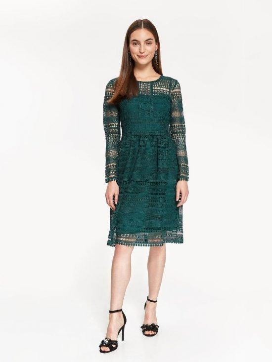 Zielona sukienka na wesele z koronki