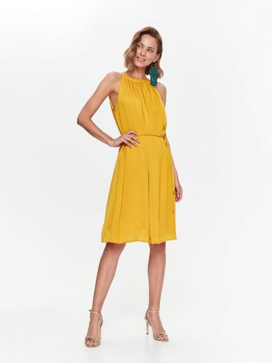Żółta sukienka na wesele bez rękawów