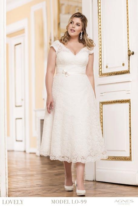 Sukienka midi plus size na ślub cywilny