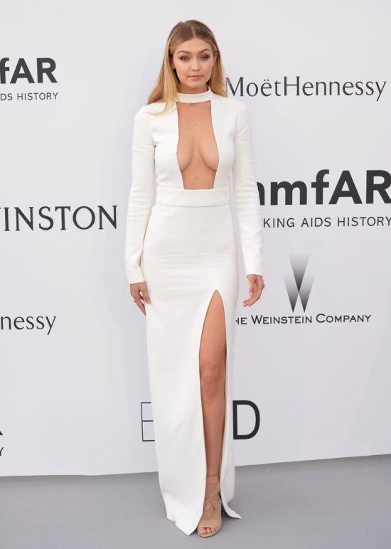 Suknie z czerwonego dywanu Cannes - Gigi Hadid