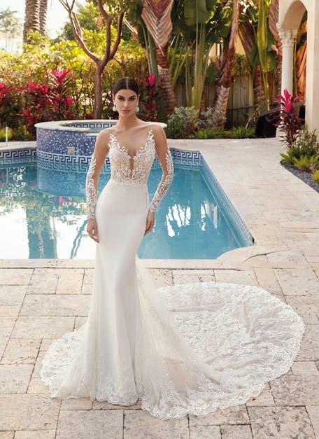 suknia ślubna z długim rękawem z efektem tatuażu
