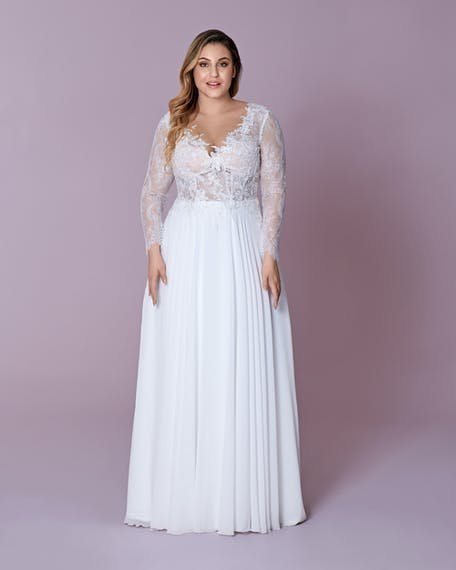 suknia ślubna plus size z długim rękawem