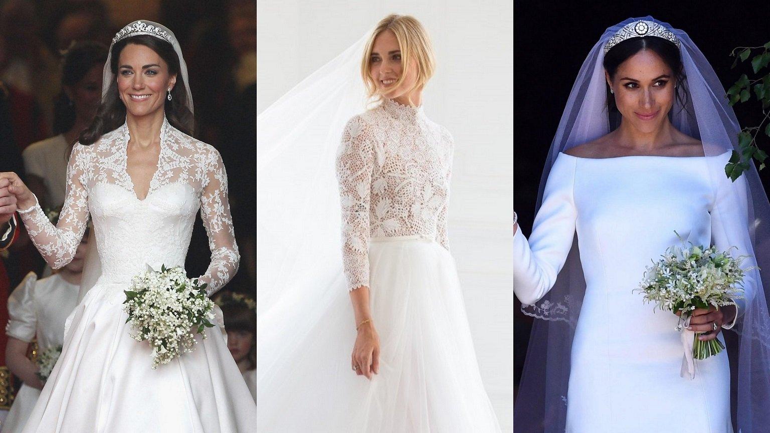 Suknia ślubna z długim rękawem - gwiazdy