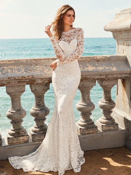 suknia ślubna z długim rękawem rybka