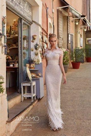 Suknie ślubne zdobione piórami 2020