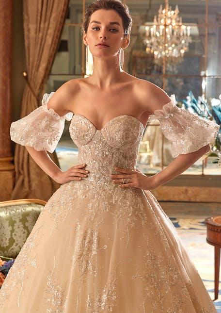 błyszczące suknie ślubne 2021