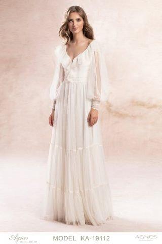 Suknia ślubna z falbankami