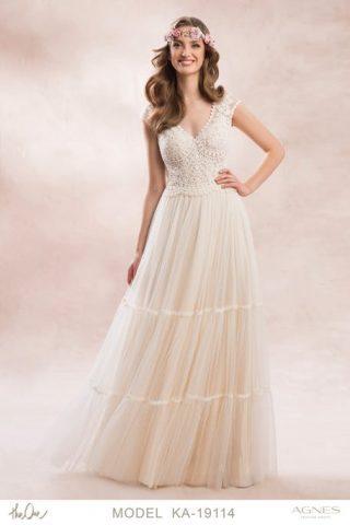 Suknia ślubna w stylu boho z koronkową górą