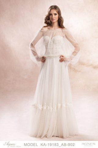 Suknia ślubna w stylu boho z przezroczystą górą