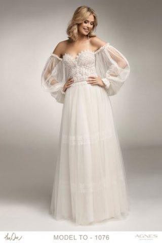Suknia ślubna w stylu boho off shoulder