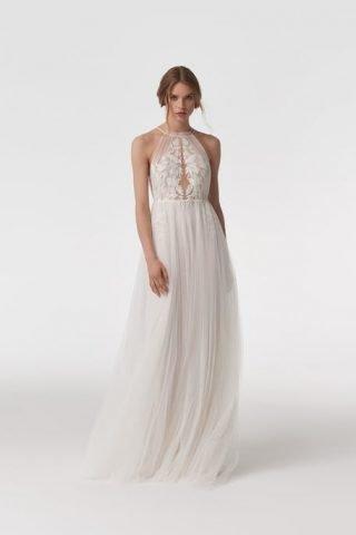 Suknia ślubna boho z motywem kwiatowym