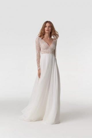 Suknia ślubna boho z dekoltem V