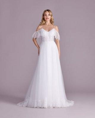 Suknia ślubna z opadającymi rękawkami