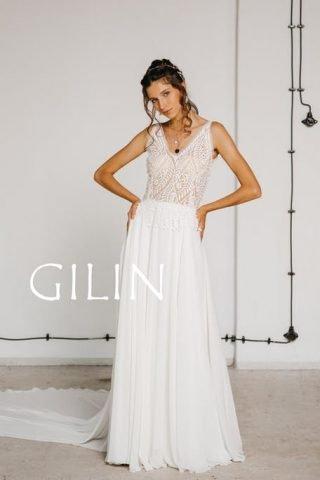 Suknia ślubna w stylu boho na ramiączkach