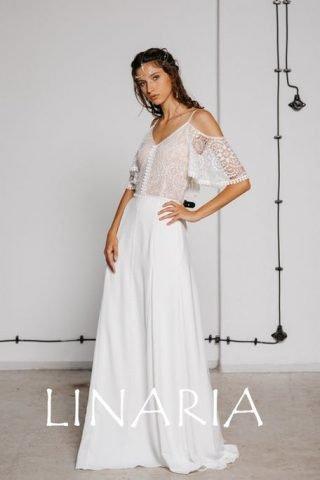 Suknia ślubna w stylu boho z poszerzaną spódnicą