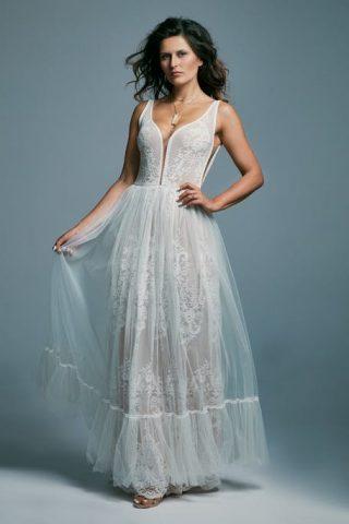 Suknia ślubna w stylu wieczorowego boho