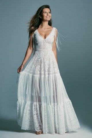 Suknia ślubna boho z frędzlami