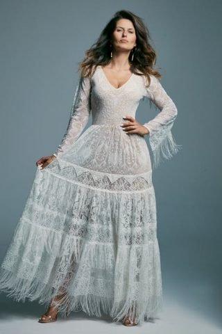 Suknie ślubne boho z długim rękawem