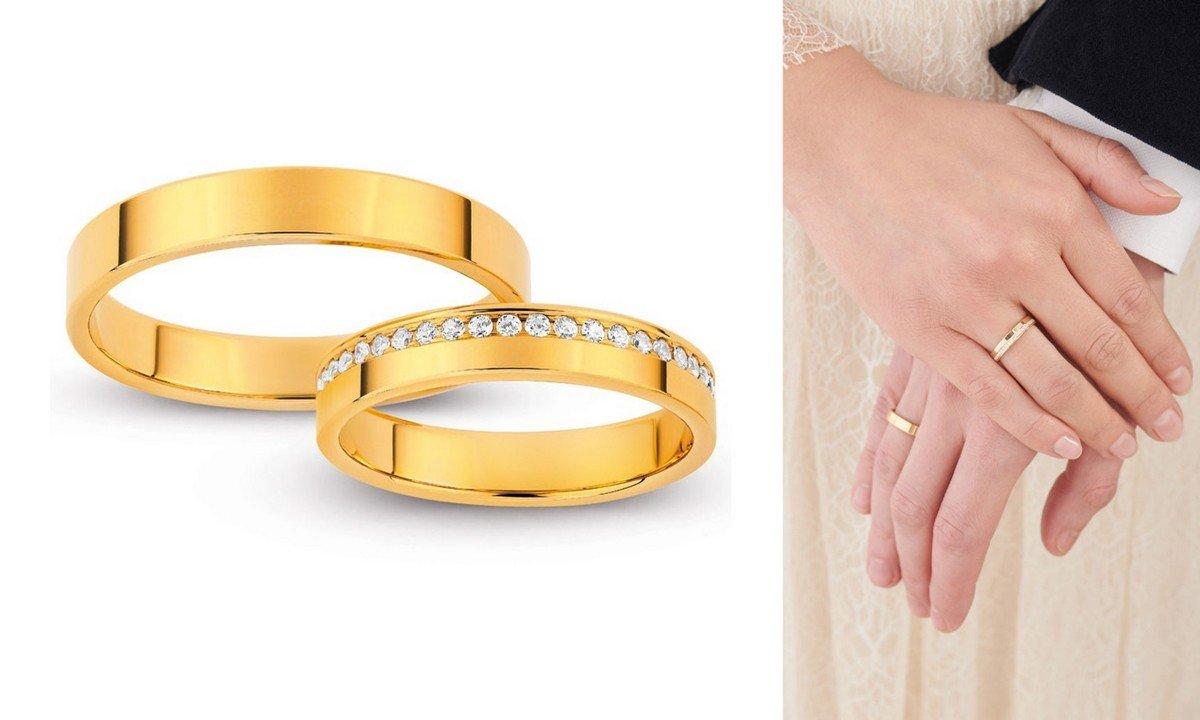 obrączki ślubne 2020 - żółte złoto